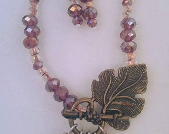 Crystal beaded leaf necklace