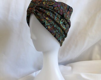 Black Paisley Stretch Turban Chemo or Surgical Scrub Alopecia Hat