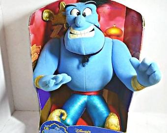 "Disney Aladdin Genie 13"" Plush Stuffed Blue Genie In Box 1992 Vintage Disney"