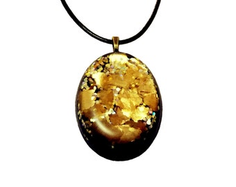 Golden Black Oval Pendant Resin Pendant Faux Leather Cord Special Occasion Special Gift Statement Pendant Hypoallergenic Pendant