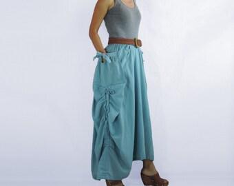 Spring Summer Skirt - Lagenlook Unique Big Pockets with Bow Light Blue Long Maxi Skirt - SK004