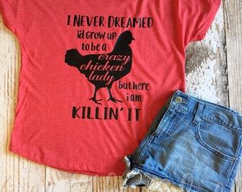 Crazy Chicken Lady Dolman Red T-shirt