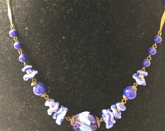 Flapper era blue glass necklace