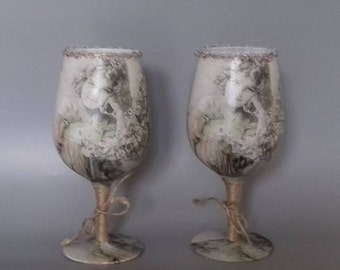Pair of Vintage Girl Decorated Wine Glasses