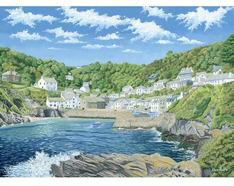 Polperro 2 Cornwall England Ltd Edition Mounted Giclee Print from an Original Oil Painting
