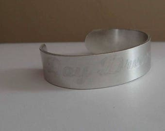 Day Dreaming Again gently etched cuff bracelet