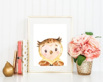 Owl Printable Woodland Printables Woodland Nursery Decor Forest Animals Gender Neutral Nursery Boy Nursery Owl Nursery Wall Art Owl Print