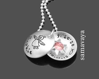 Christening necklace with engraving SCHUTZENGELCHEN pink star 925 Silver Chain children jewelry name chain