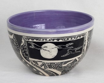 Hand carved stoneware bowl, sgraffito, decorative bowl, ceramic bowl, gift