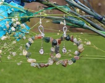 Hand Wrapped Stone Earrings