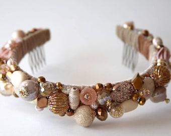 Crown GLORIA in CREAM, Beaded Crown, Wedding Crown, Bridal Tiara, Hair Accessories, Crystal Crown, Crystal Tiara, Royal crown
