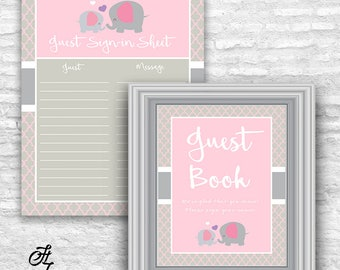 elephant guest book sign pink and gray guest book sign elephant baby shower