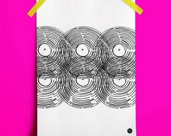 Turntable Record Wall Art Print No. 7: ideal gift for vinyl fans. (A3 Digital Print)
