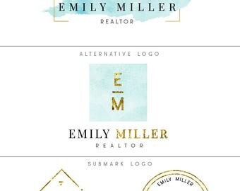 Logo and branding, Premade luxury branding package, Sky blue & gold premade logo kit, Realtor logo, Photography logo, Blog logo, Blue logo