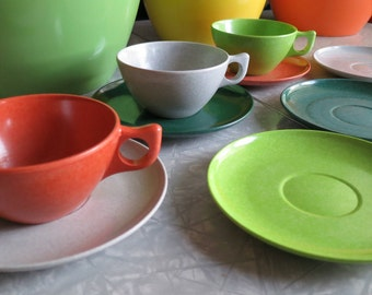 Melmac Color Flyte Branchell Vintage 1950's Mugs and Saucers!! Mix Match of 9 Pieces with 3 Mugs and 6 Saucers! Super Cool Colors!