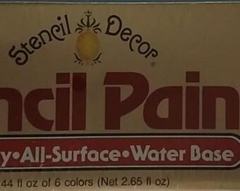 Plaid Enterprises, Inc | Stencil Decor Stencil Paints | Water Base Paints | #26080 Basic Brights | Six Colors | 0.44 fl oz each | Sealed
