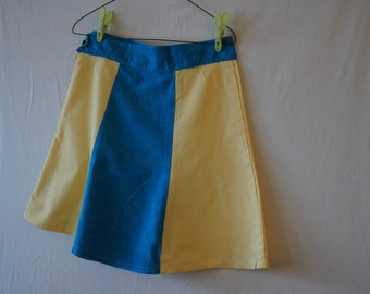 Girls skirt, yellow and blue, cotton skirt,button detail,flower detail,spring style, custom skirt, custom clothing, girls plus size  12.5