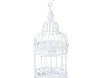 White Vintage White Birdcage 22cm