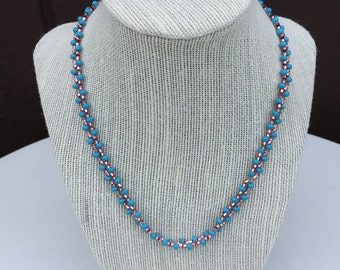 Handmade Beaded Necklace, Long Beaded Necklace, Pink and Blue Beaded Necklace, Seed Bead Necklace,Seed Bead Jewelry,Handmade Beaded Necklace