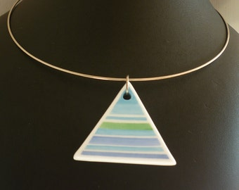HAND painted skyline Blue ceramic Triangle necklace