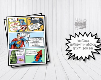 Comic invitation, Superhero invitation, Superhero birthday invitation, Superhero birthday party, Superheroes invitation, Printable invites