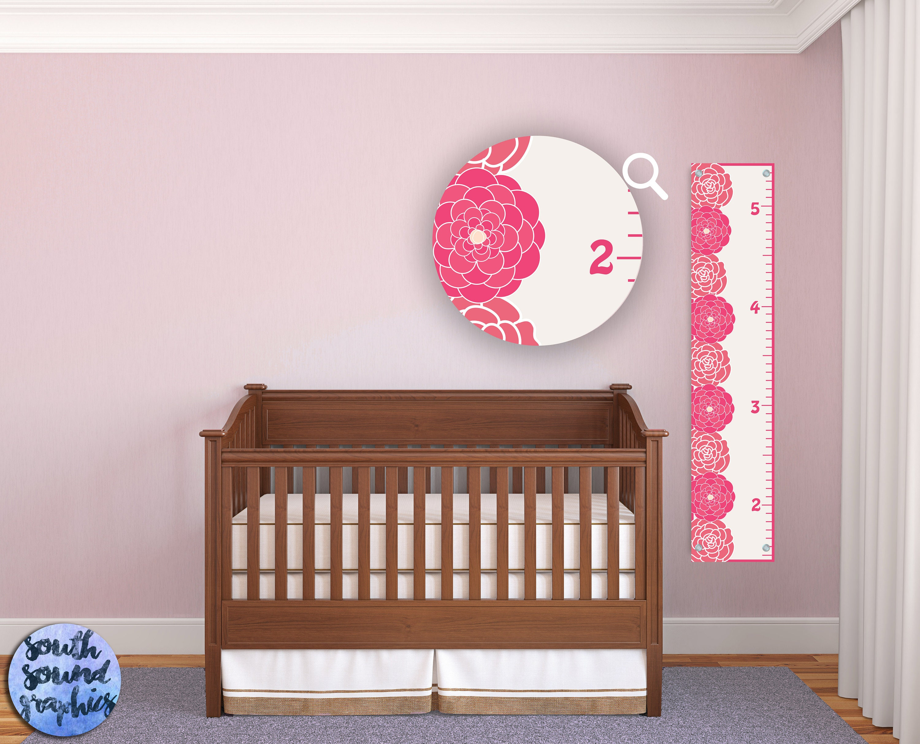 Growth chart for girls kids room wall decor pink floral for Growth chart for kids room