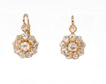 Earrings yellow gold 18K sleepers to diamonds
