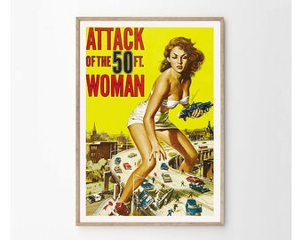 ATTACK of the 50ft Woman Vintage Horror Movie Poster Print - Vintage Film Art - Eclectic Home Decor