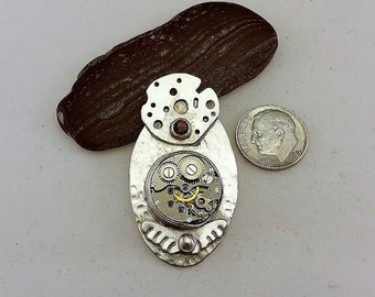 Tempus Fugit Whimsey Sterling Silver Pendant with Watch Case and Garnet Cabochon