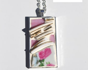 Mosaic Pendant Pink Rose Tea with chain 1 x 2 Inch Necklace