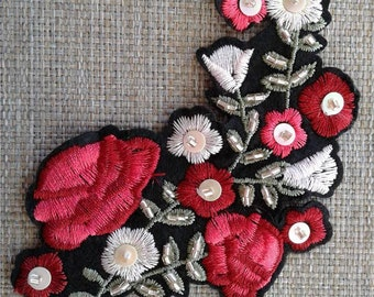 Sew on floral patch applique with sequins