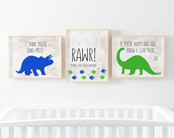 Dinosaur Print Set of 3-Rawr Means I Love You Print-Dinosaur Print-You are Dinomite-Green Blue Dinosaur-Boy Room-Instant Download-Wall Art