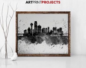 Dallas Texas Silhouette City Skyline Digital 8 X
