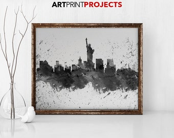 New York watercolor print, black and white, poster, wall art, New York skyline, city prints, gift, travel, typography art, ArtPrintProjects