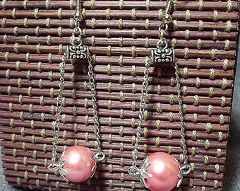Earrings / bracelet / glass pearls / dew / Sakura/spring, 2-piece set / light pink / antique silver jewellery set 2 pts /.