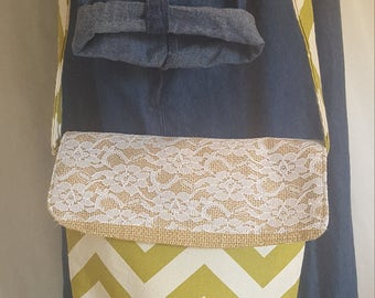 Green Chevron Purse with Lace
