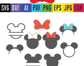 Disney Mickey and Minnie mouse monogram frames Mickey head SVG monogram for Silhouette  Cricut files Svg, Dxf, Pdf, Eps, Ai, Png, Jpg, cdr