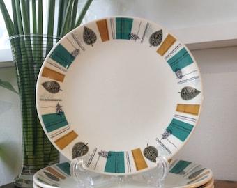 Porcelain Empire retro vintage leaf design plates x 4