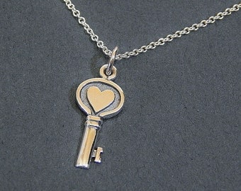 Key To My Heart Necklace Sterling Silver Charm Necklace Love Pendant Necklace