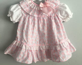 Sweet Treats 1980s Floral Print Infant Girls Dress 6-9 Months