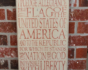 Vintage, Rustic Pledge of Allegiance Sign