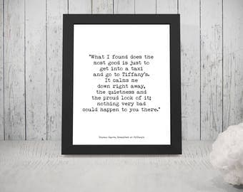 Breakfast at Tiffanys Quote, Audrey Hepburn Art, Truman Capote, Audrey Wall Decor, Black and White Art Print, Go to Tiffany's