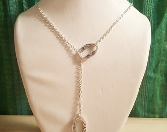 San Juan River Necklace // Silver Southwestern Etched Lariat Necklace