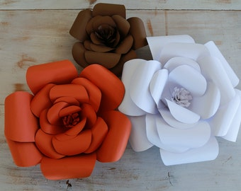 Paper Flowers- Set of 3 (Rust, white, brown)