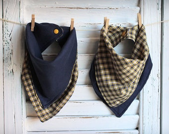 Reversible Bandana Baby Bib Blue and Yellow Plaid