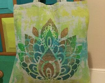 Green lotus flower, festival, canvas tote bag