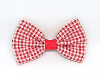 School Hair bow, school accessories, red gingham bow, bow hair clip, girls hair accessory, school hair clips, red gingham, gifts for girls