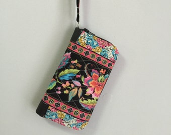 Pink and Black Floral Clutch