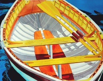 Peapod Cropped, giclee boat print, brilliant colors from original watercolor by Pam Pahl, ASMA,FWS