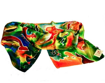 """Hand painted silk scarf-""""shapes and colours in motion"""""""